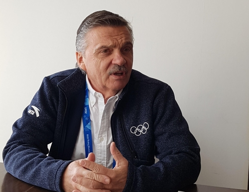 Rene Fasel, president of the International Ice Hockey Federation, speaks with Yonhap News Agency in an interview in Gangneung, home of all hockey games during the PyeongChang Winter Olympics, on Feb. 22, 2018. (Yonhap)