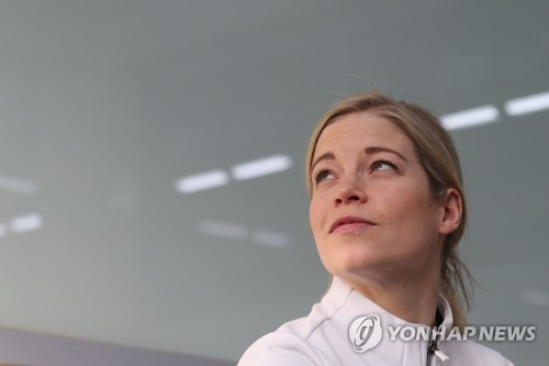 Sarah Murray, head coach of the unified Korean women's hockey team at the PyeongChang Winter Olympics, listens to a question during a roundtable interview with South Korean journalists at Team Korea House inside Gangneung Olympic Park in Gangneung, Gangwon Province, on Feb. 23, 2018. (Yonhap)
