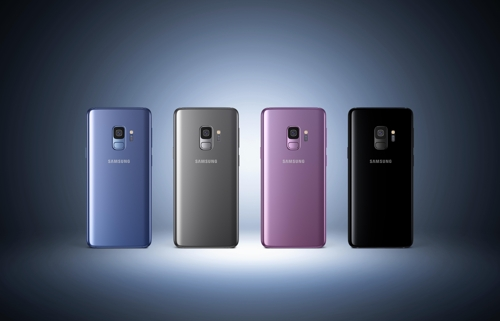 This photo, released by Samsung Electronics Co. on Feb. 26, 2018 shows Galaxy S9 smartphones in different colors. (Yonhap)