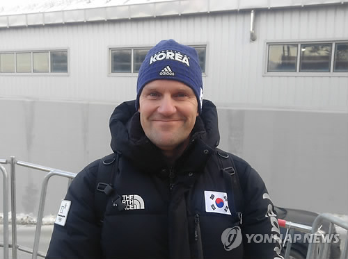 This file photo taken Feb. 16, 2018, shows Pierre Lueders, a Canadian coach working for the South Korean national bobsleigh team, at Olympic Sliding Centre in PyeongChang, Gangwon Province. (Yonhap)