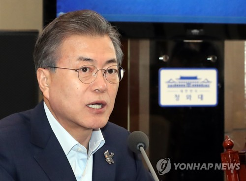This photo taken on March 5, 2018, shows President Moon Jae-in speaking during a meeting with his senior secretaries at the presidential office Cheong Wa Dae in Seoul. (Yonhap)