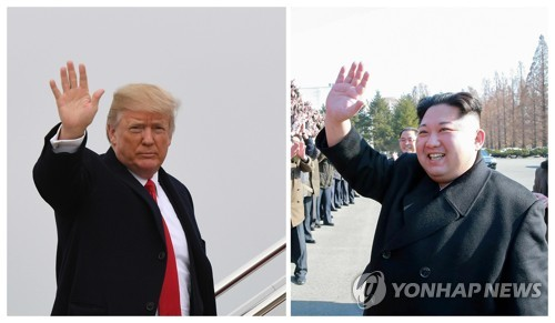 This composite image shows an AFP file photo of U.S. President Donald Trump (L) and a file photo of North Korean leader Kim Jong-un published by the North's Korean Central News Agency. (For Use Only in the Republic of Korea. No Redistribution) (Yonhap)
