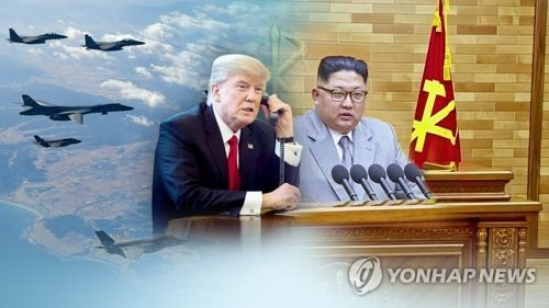 This image provided by Yonhap News TV shows U.S. President Donald Trump (L) and North Korean leader Kim Jong-un. (Yonhap)
