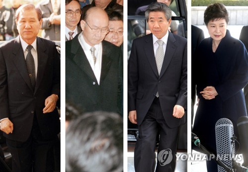 2018 shows former South Korean presidents who faced prosecution investigations over corruption and other charges Roh Tae-woo Chun Doo-hwan Roh Moo-hyun and Park Geun-hye