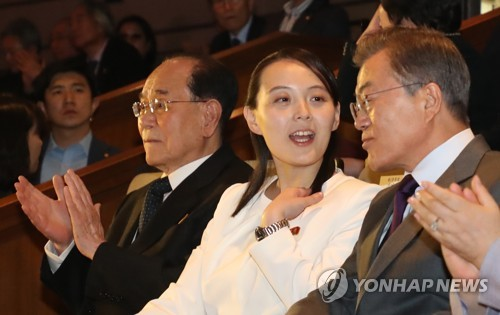 In this photo taken on Feb. 11, 2018, South Korean President Moon Jae-in (R) is seen listening to Kim Yo-jong (second from R) while viewing performances by a North Korean art troupe in Seoul. Kim Yo-jong, a younger sister of North Korean leader Kim Jong-un, visited South Korea as a special envoy of her brother to deliver an invitation for Moon to visit Pyongyang for an inter-Korean summit. (Yonhap)