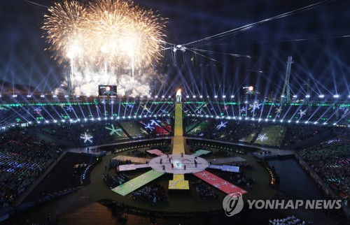Fireworks go off at PyeongChang Olympic Stadium at the start of the closing ceremony for the 2018 PyeongChang Winter Paralympics in PyeongChang, Gangwon Province, on March 18, 2018. (Yonhap)