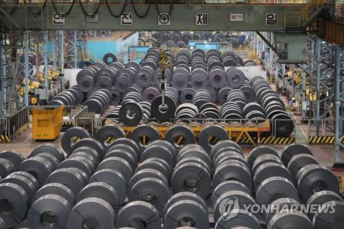 Hot-rolled coil products are lined up at a steel factory in Pohang, 374 kilomters southeast of Seoul, on March 22, 2018. (Yonhap)