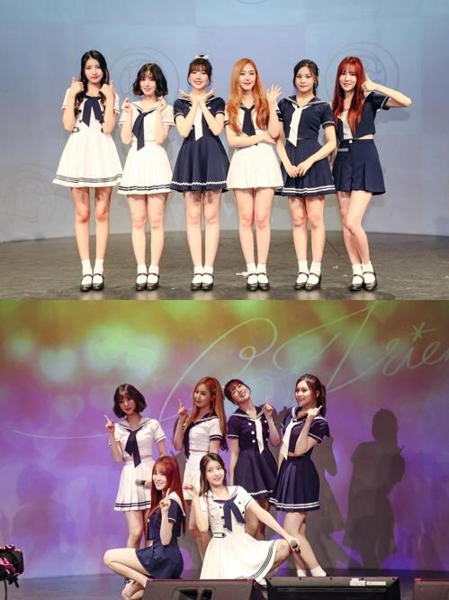 The photos provided by Source Music show GFriend putting on a showcase in Japan on March 28, 2018. (Yonhap)