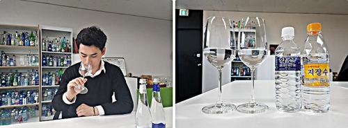 In these photos taken March 28, 2018, water sommelier Kim Ha-neul (L) tastes an imported mineral water at his office in Seoul. (Yonhap)