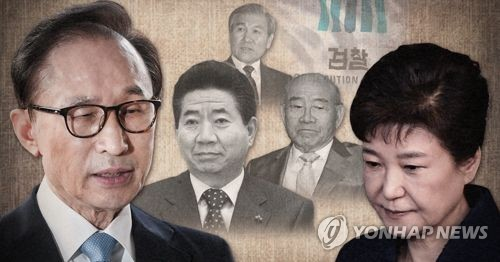 This graphic, filed March 14, 2018, shows former presidents of South Korea that have faced a prosecution probe over corruption. From L to R, Lee Myung-bak, Roh Moo-hyun, Roh Tae-woo, Chun Doo-hwan and Park Geun-hye.
