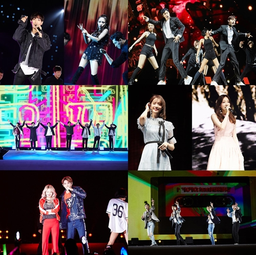 "This composite photo provided by SM Entertainment shows highlights from the ""SM Town Live World Tour VI in Dubai"" held at the Autism Rocks Arena in Dubai on April 6, 2018. (Yonhap)"