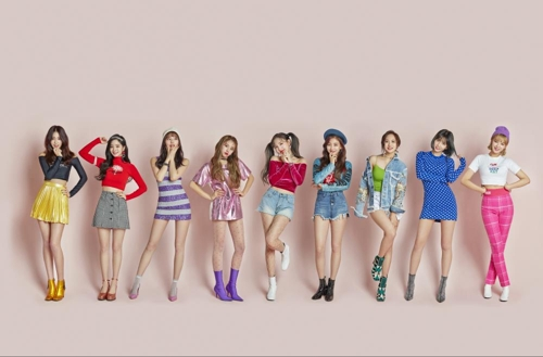 This file publicity photo provided by JYP Entertainment shows K-pop act TWICE. (Yonhap)