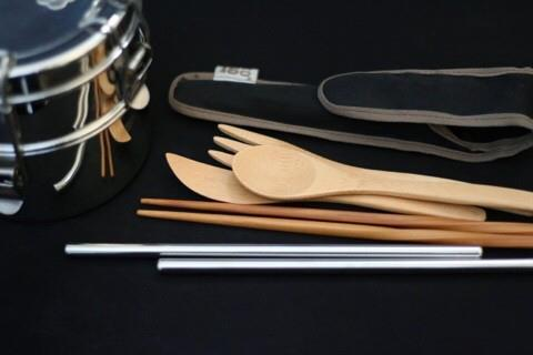 This undated photo, provided by Jeon Jae-eun, shows the chopsticks, spoon and fork she carries when she goes out so she can avoid using disposable items. (Yonhap)