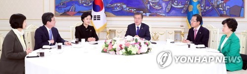 In this photo, taken March 7, 2018, President Moon Jae-in (fourth from L) speaks with the leaders of the five ruling and opposition parties in a meeting held at his office Cheong Wa Dae, in which the president called for bipartisan support for his then-upcoming summit with North Korean leader Kim Jong-un that marked the third inter-Korean summit in history. (Yonhap)