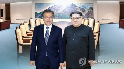 This image, provided by Yonhap News TV, shows South Korean President Moon Jae-in (L) and North Korean leader Kim Jong-un. (Yonhap)