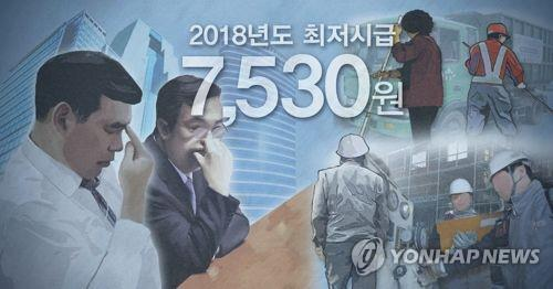 This computer generated image shows challenges facing businesses with South Korean minimum wage hitting 7,530 won per hour. (Yonhap)