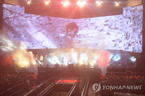 This photo of South Korean pop legend Cho Yong-pil's concert for the 50th anniversary of his debut was provided by its organizing commitee. (Yonhap)