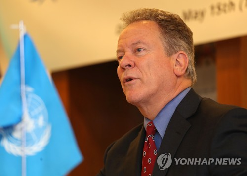 David Beasley, the executive director of the World Food Programme, speaks during a press conference in Seoul on May 15, 2018. (Yonhap)