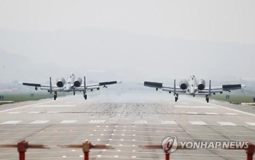 This photo, taken May 11, shows A-10 warplanes at Osan Air Base in Pyeongtaek, 70 kilometers south of Seoul. (Yonhap)