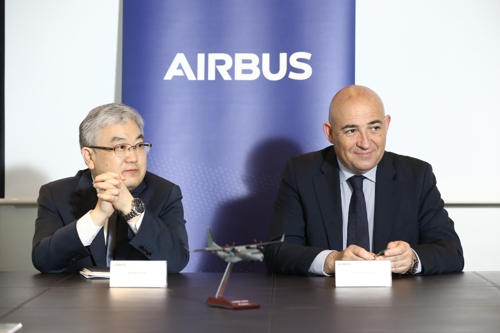 Officials from Airbus Defence & Space hold a press conference to explain its maritime patrol aircraft in Seoul on May 17, 2018, in this photo provided by the company. (Yonhap)