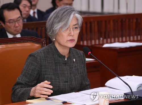 Foreign Minister Kang Kyung-wha speaks at a National Assembly committee session on May 17, 2018. (Yonhap)