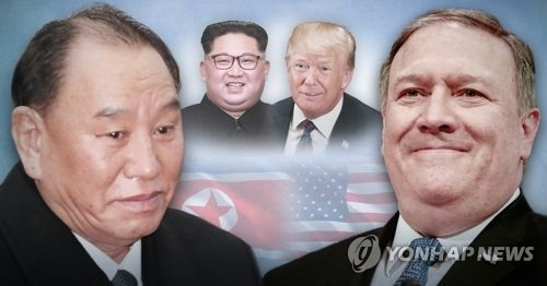 This graphic image, using file photos from the AP and EPA, shows (from L to R) Kim Yong-chol, vice chairman of North Korea's ruling Workers' Party's Central Committee, North Korean leader Kim Jong-un, U.S. President Donald Trump and U.S. Secretary of State Mike Pompeo. (Yonhap)
