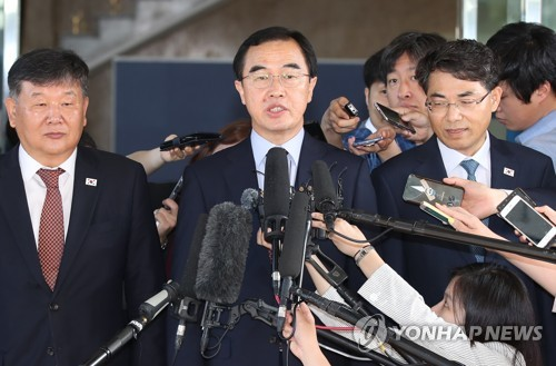 Unification Minister Cho Myoung-gyon speaks before he leaves for inter Korean talks