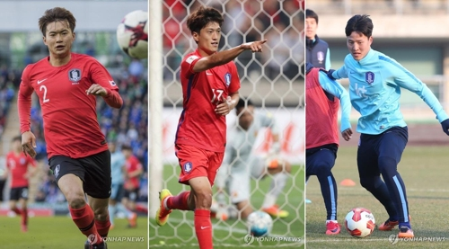 This composite photo shows Kim Jin-su (L), Lee Chung-yong (C) and Kwon Kyung-won. These three players were cut from South Korea's final roster for the 2018 FIFA World Cup and will not go to Russia with the men's national football team. (Yonhap)
