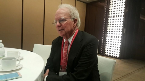 Robert Hall, a professor at Stanford University, speaks at an interview with Yonhap News Agency in Seoul on June 4, 2018. (Yonhap)