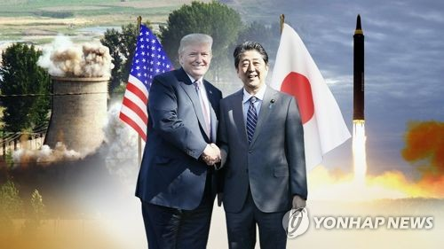 This image, provided by Yonhap News TV, shows U.S. President Donald Trump (L) and Japanese Prime Minister Shinzo Abe. (Yonhap)