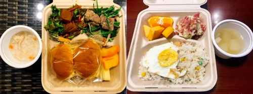 These photos provided by the Banpo Riche community center show two breakfast choices for residents. (Yonhap)