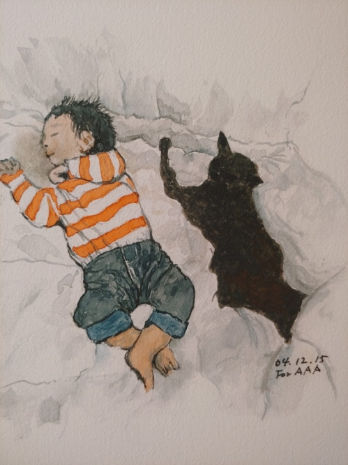 """Astro Sleeping with Oskar"" by Lee Chan-jae is on display in an exhibition titled ""Drawings for My Grandchildren"" at the Brazilian Embassy in Seoul on June 5, 2018. (Yonhap)"