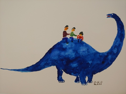 """Riding the Dinosaur"" by Lee Chan-jae is on display in an exhibition titled ""Drawings for My Grandchildren"" at the Brazilian Embassy in Seoul on June 5, 2018. (Yonhap)"