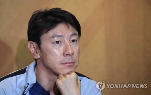 South Korea national football team head coach Shin Tae-yong speaks to reporters during a press conference in Leogang, Austria, on June 11, 2018. (Yonhap)