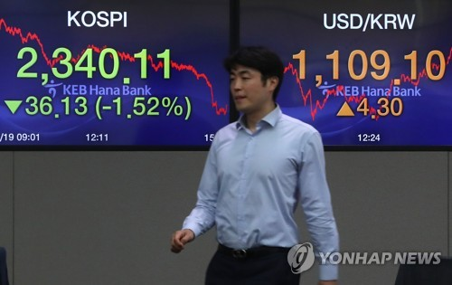 (LEAD) Seoul stocks hit 9-month low on new Trump tariff remarks