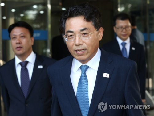 Vice Transport Minister Kim Jeong-ryeol leaves for talks on road-related cooperation with North Korea on June 28, 2018. (Yonhap)