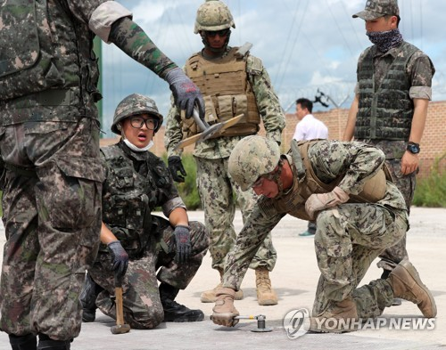 This file photo, taken August 2017, shows a group of South Korean and U.S. armed service members working together in a joint military exercise in South Korea. South Korea and the United States announced a temporary suspension of their joint military exercises following a Seoul meeting of their defense chiefs on June 28, 2018, amid ongoing dialogue with North Korea on the denuclearization of the Korea Peninsula. (Yonhap)