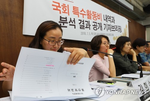 Members of the People's Solidarity for Participatory Democracy hold a press conference in Seoul on July 5, 2018. (Yonhap)