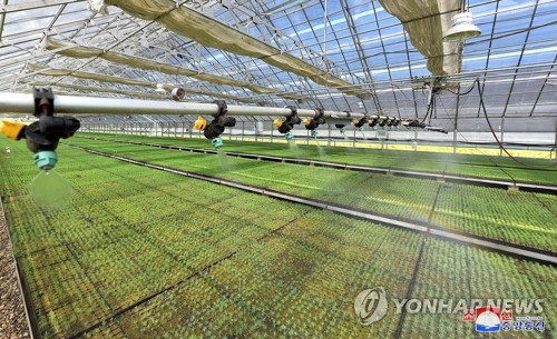 This photo, carried by North Korea's state news agency on June 25, 2018, shows a sapling nursery whose construction was completed a day earlier in the country's eastern Kangwon Province. (For Use Only in the Republic of Korea. No Redistribution) (Yonhap)