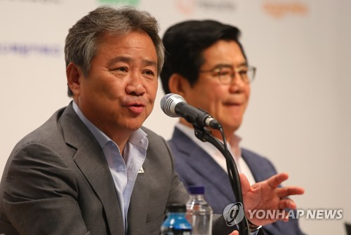 Korean Sport & Olympic Committee (KSOC) President Lee Kee-heung speaks in a press conference at the National Training Center in Jincheon, North Chungcheong Province, on July 10, 2018. (Yonhap)