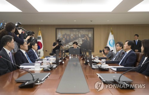 The Bank of Korea monetary policy board holds its decision-making meeting on the key rate at its Seoul headquarters on July 12, 2018. (Yonhap)