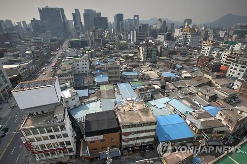 This undated file photo, provided by the Jung Ward Office, shows an aerial view of Euljiro, Seoul. (Yonhap)