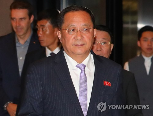 North Korean Foreign Minister Ri Yong-ho enters his hotel in Singapore on Aug. 3, 2018. (Yonhap)