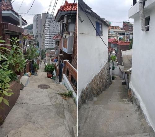 These photos taken on Aug. 6, 2018, show narrow alleyways in Samyang-dong, northern Seoul. (Yonhap)