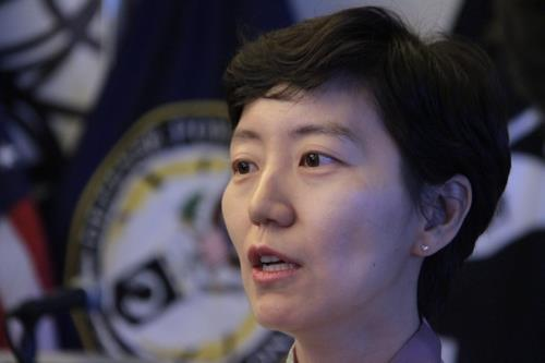 Jennie Jin, director of the Korean War Project, speaks to Yonhap News Agency in Arlington, Virginia, on Aug. 8, 2018. (Yonhap)