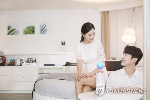 This photo by SK Telecom shows the company's artificial intelligence platform, NUGU, employed at the Grand Walkerhill Hotel in eastern Seoul. (Yonhap)