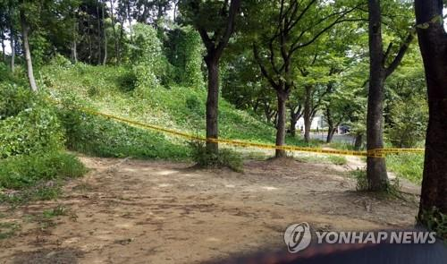 This photo shows the wooded area at Seoul Grand Park where the dismembered body of a man was found by a staff member on Aug, 19, 2018,  in Gwacheon, south of Seoul. (Yonhap)