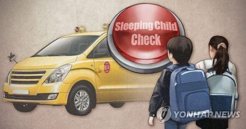 This graphic illustrates the sleeping child check system installed in the back of a school bus, which is designed to make sure no child is left on a bus. (Yonhap)
