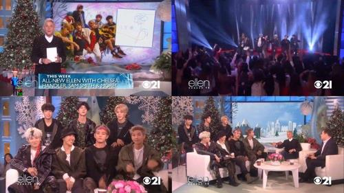 "This composite photo provided by Big Hit Entertainment shows highlights from the episode of ""The Ellen DeGeneres Show"" featuring K-pop band BTS in November 2017. (Yonhap)"