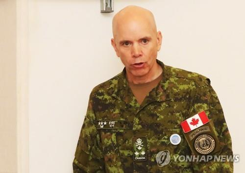 This photo, taken July 30, 2018, shows Lieut. Gen. Wayne D. Eyre, the deputy commander of the United Nations Command, speaking during a change-of-responsibility ceremony at Camp Humphreys, a sprawling U.S. military complex in Pyeongtaek, 70 kilometers south of Seoul. (Yonhap)